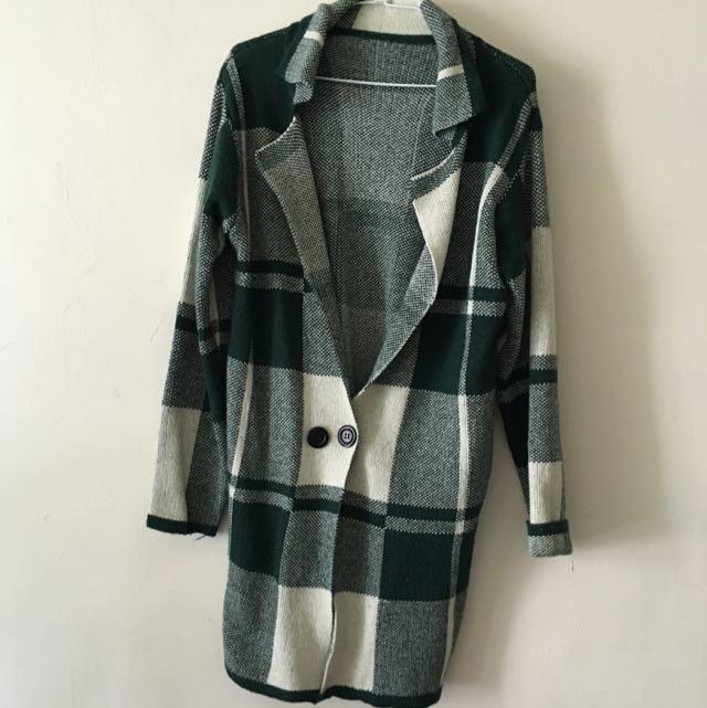 綠白格針織西裝領外套