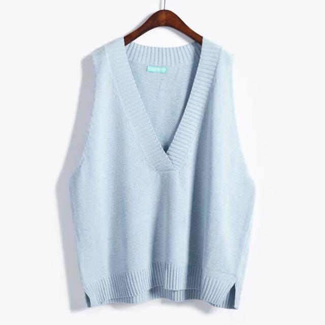 藍色針織背心