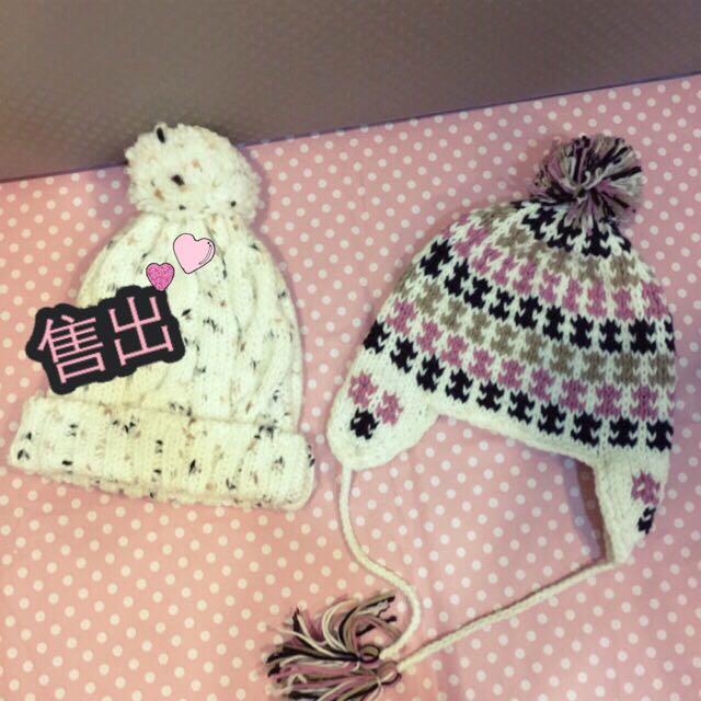 粉色系針織毛帽