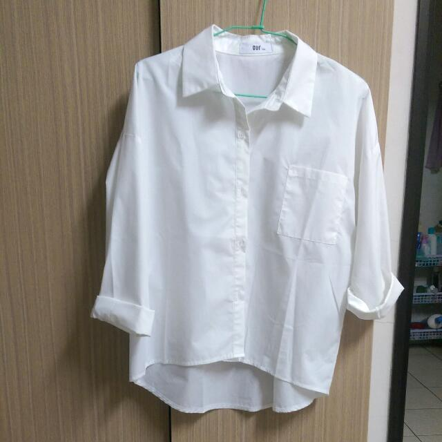 (保留)前短後長白色襯衫