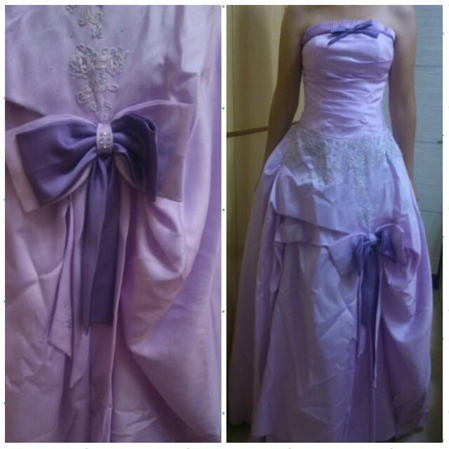 (免運費)(近全新)淺紫色法式蛋糕婚紗禮服