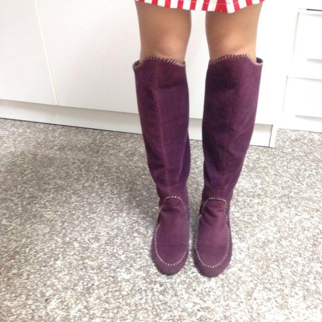 二手 復古 古著 嬉皮 手縫線 麂皮長靴 兩穿造型 精靈長靴 史瑞克 鞋貓