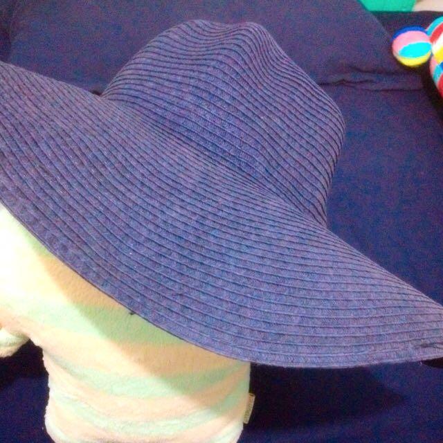 深藍度假風編織草帽
