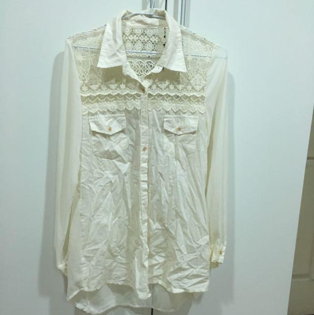 韓組-蕾絲拼雪紡襯衫