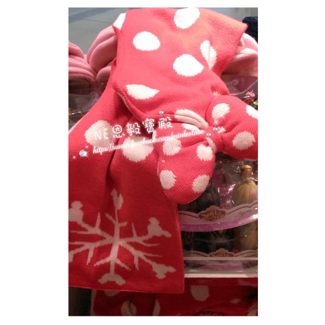 已售完(SALE折扣品)♡香港迪士尼 米妮點點連帽厚款圍巾 <大人小孩皆可使用>