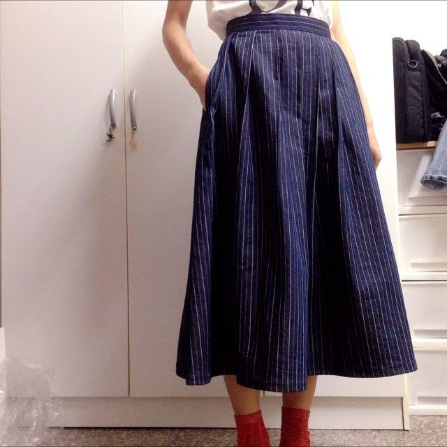 長裙 摺裙 澎裙 線條牛仔面料 手工製作