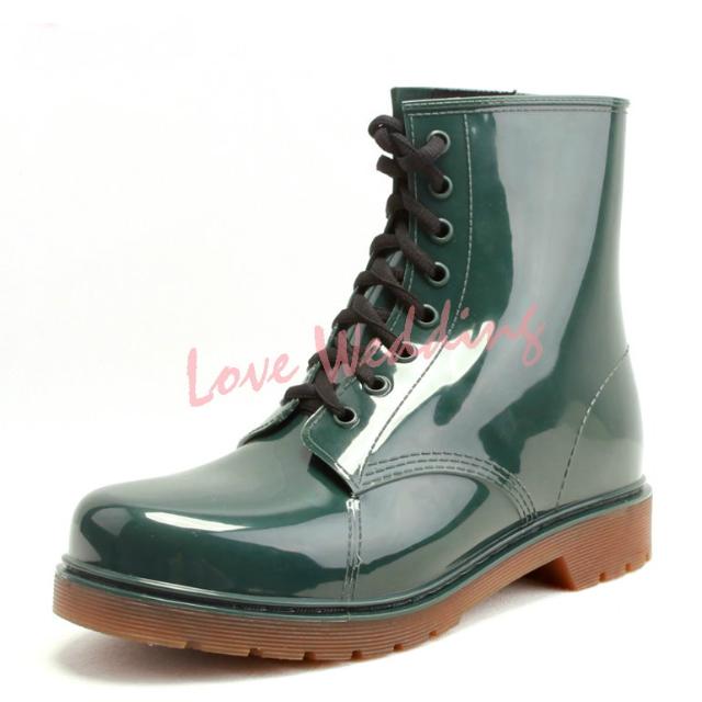 男士雨靴 雨鞋 馬丁鞋 軍靴 綠色