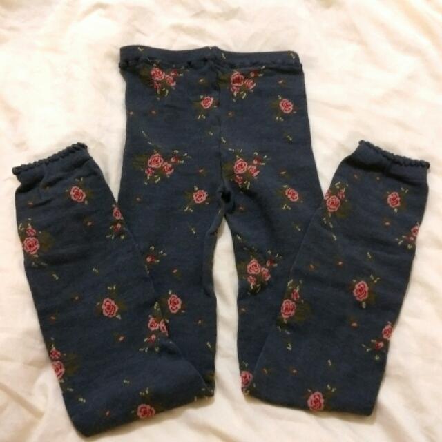 🐼 全新 🐼 秋冬 玫瑰花 灰色 內搭褲 日本製
