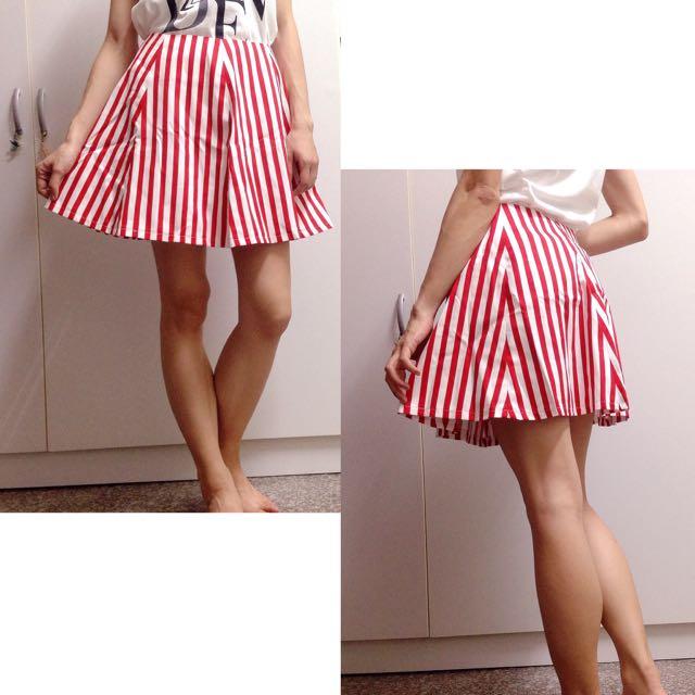 【全新】高腰 寬A字裙 短裙 線條斜紋布 六片裙 修飾顯瘦 手工製作