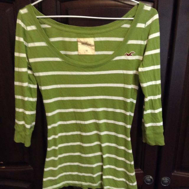 美國 Hollister 草綠五分袖白條紋上衣