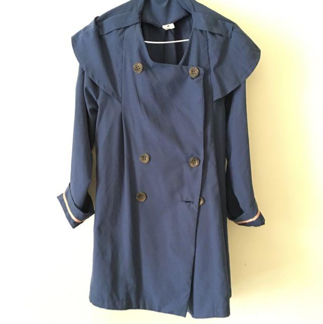 Gmarket  正韓版深藍色排扣袖反折風衣外套
