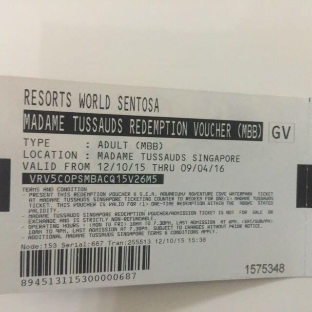Madame Tussauds Singapore - 2 Tickets