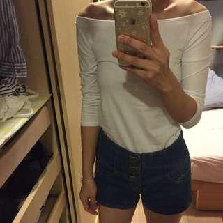 高腰排釦短褲