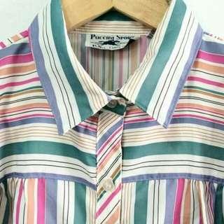 【售】 ✨古著 條紋短袖襯衫 男女皆可穿
