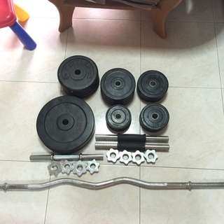 Used Dumbbell And Barbell Set