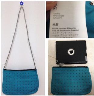 H & M studded chain handbag in black