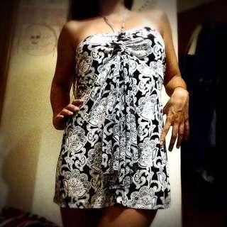性感❤️綁帶圖騰平口洋裝