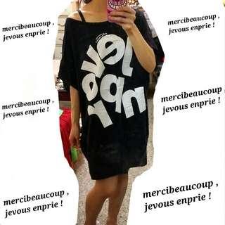 🐼 二手 🐼 mercibeaucoup , jevous enprie ! ❤ 深藍長版T 洋裝