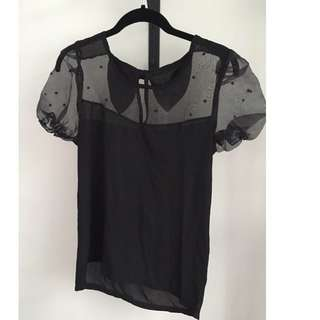 Black Top With Mesh Detail *Brand New*