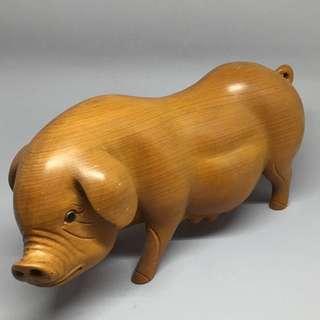 黃揚木 招財豬 ㄧ對