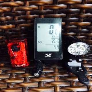 Bike Light Front And Back (D-Light) With Free Speedometer