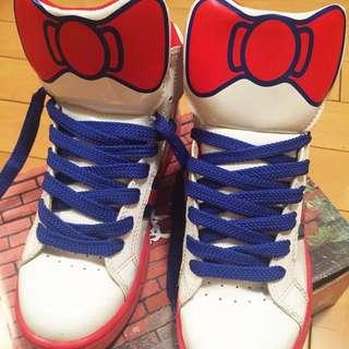 可愛亮皮藍紅白蝴蝶結高筒運動鞋休閒鞋