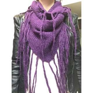 時尚百搭紫色流蘇三角造型針織毛呢保暖長圍巾 披肩