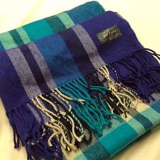 寬版格子大披風式圍巾  (9成新)