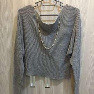 斜領針織毛衣