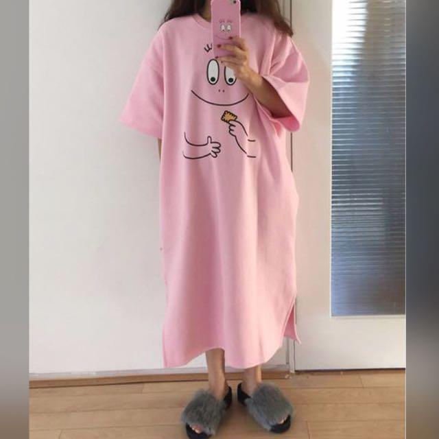 韓國單秋冬可愛笑臉超長款寬鬆休閒加絨連衣裙(林碩