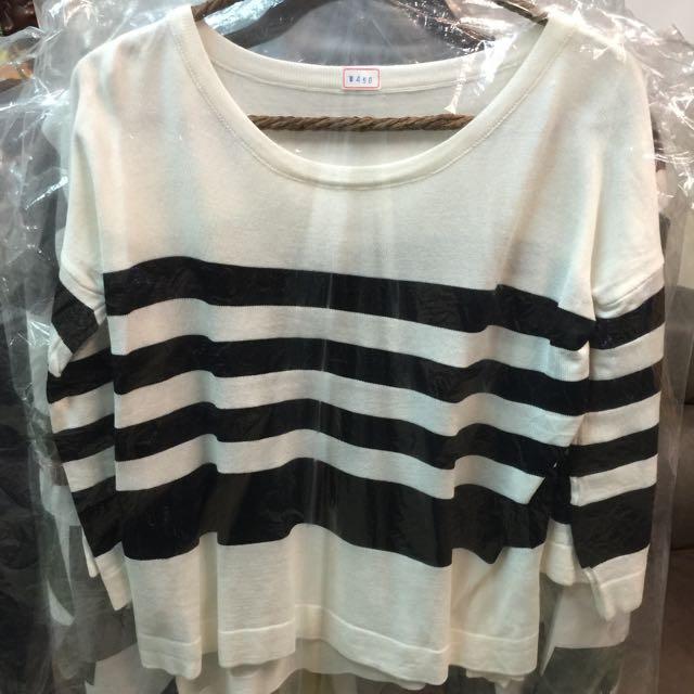 韓國簡約條紋上衣