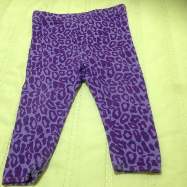紫豹紋彈性打底褲