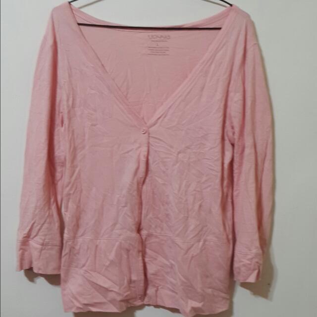 ✌薄款粉橘色外罩衫