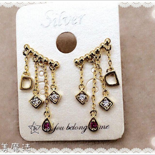 金色垂墜鋯石耳環 $300