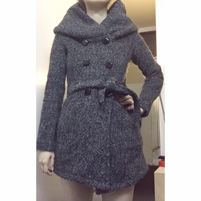 🇰🇷韓國空運 ✈️ 正韓高質感大帽子雙排扣羊毛毛呢保暖綁帶長版外套