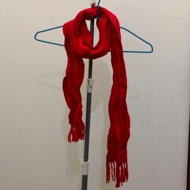 🐼 全新 🐼 秋冬 紅色皺褶造型圍巾