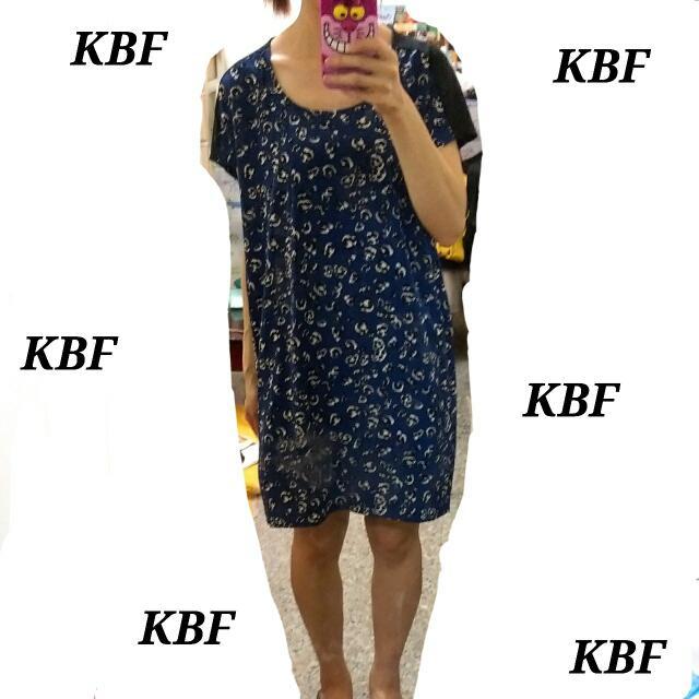 🐼 全新 🐼 KBF ❤ 藍色豹紋 洋裝 長版衣