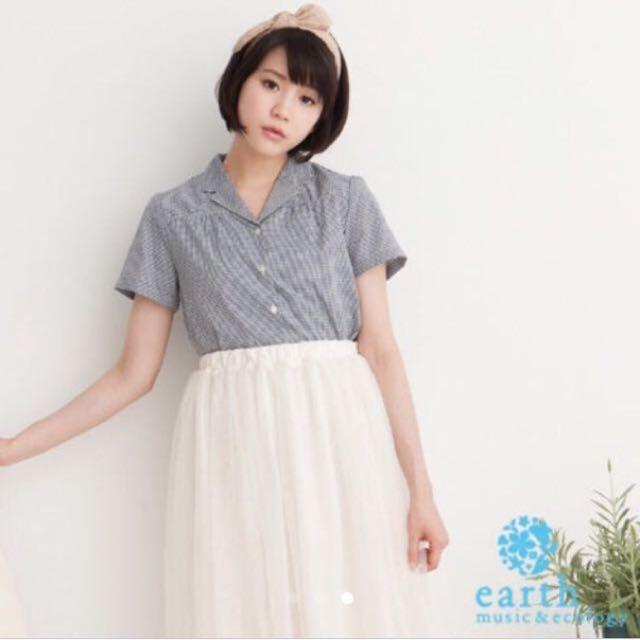 全新 earth music & ecology黑白格紋襯衫