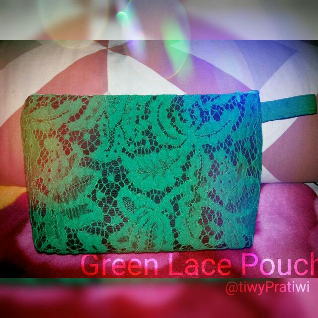 Green Lace Pouch