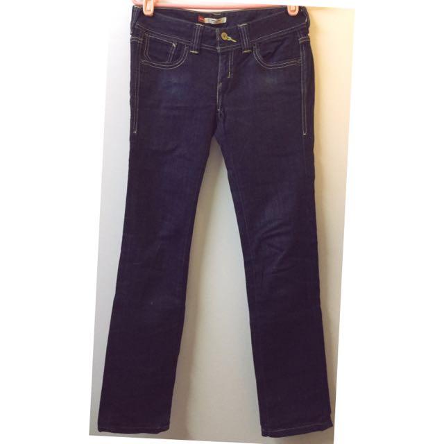 LEVI STRAUSS & CO 深藍刷色直筒牛仔褲 長褲👖