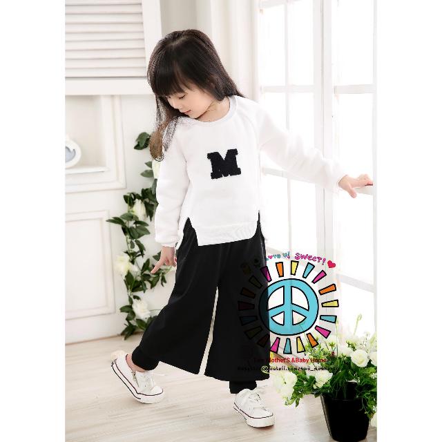 韓國-女童M 秋冬時尚個性闊腿褲套裝 加厚加絨 上衣+褲子 (活動期間-免運費) 20套優惠