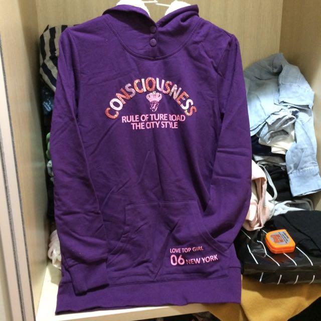 Top Girl紫色長版帽T