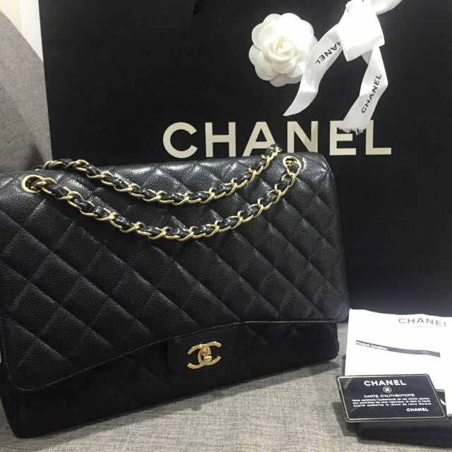 Full Set With Servicing Receipt Excellent Condition Chanel Maxi Single Flap Bag In Black Caviar Leather And Ghw Luxury On Carou