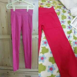 全新 色褲 緊身褲 內搭褲 彈性 桃紅色
