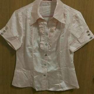 粉色 緞面襯衫
