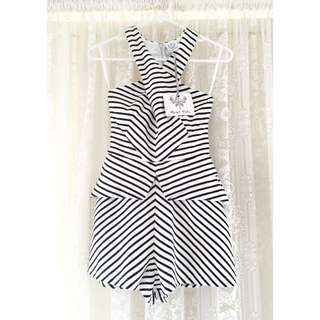 Angel Biba - Black And White Striped Playsuit / Jumpsuit
