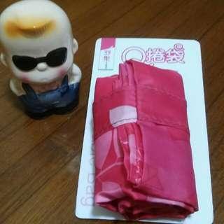 收納折疊購物袋~粉紅色大