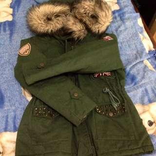 軍裝外套/縮腰/連帽