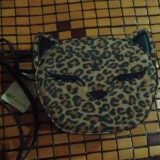 NET豹紋貓咪頭型斜揹包