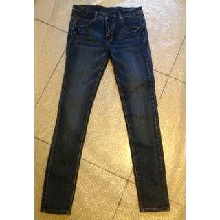 🎉降~彈力顯瘦藍色牛仔褲